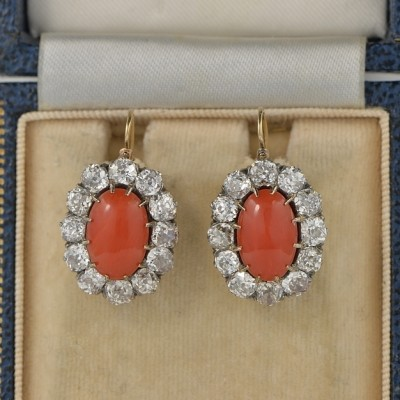 AUTHENTIC VICTORIAN OX BLOOD RED CORAL 6.0 CT OLD MINE DIAMOND RARE EAR DROPS 1880 CA!