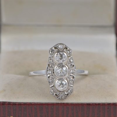 STUNNING 1.0 CT DIAMOND PLATINUM PUREST ART DECO PANEL RING!
