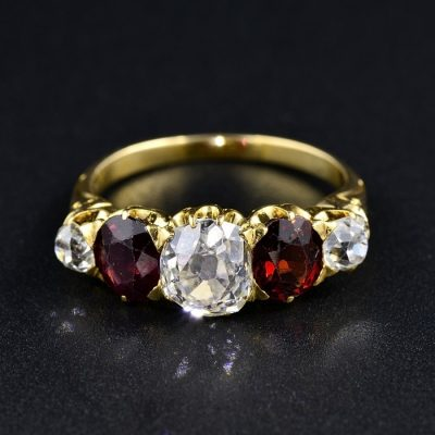 RARE VICTORIAN FIVE STONE DIAMOND RING 1.40 CT G VS CENTRE STONE RED PYROPE 1880 CA!