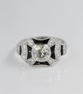 IMPORTANT ART DECO 1.50 CT DIAMOND BLACK ONYX INLAY RARE 1920 RING !