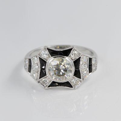 IMPORTANT ART DECO 1.50 CT DIAMOND BLACK ONYX INLAY RARE 1920 RING !