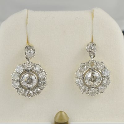 AUTHENTIC EDWARDIAN 3.20 CT OLD DIAMOND CUT CLUSTER EARRINGS 1900 CA!