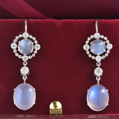 ALLURING ART DECO 9.0 CT SRY LANKA MOONSTONE 1.0 CT DIAMOND EARRING 1910 CA!