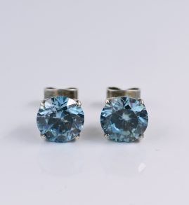 OUTSTANDING EDWARDIAN 9.60 CT NATURAL BLUE ZIRCON RARE STUD EARRINGS!