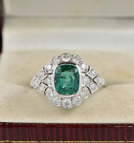 AUTHENTIC EDWARDIAN 1.60 CT COLOMBIAN EMERALD &  1.40 CT DIAMOND DISTINCTIVE RING