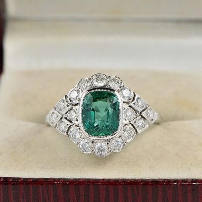 AUTHENTIC EDWARDIAN 1.60 CT COLOMBIAN EMERALD &  1.40 CT DIAMOND DISTINCTIVE RING!