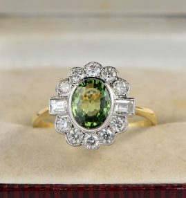 ART DECO 1.50 CT NATURAL GREEN SAPPHIRE 1.0 CT DIAMOND RARE QUALITY RING