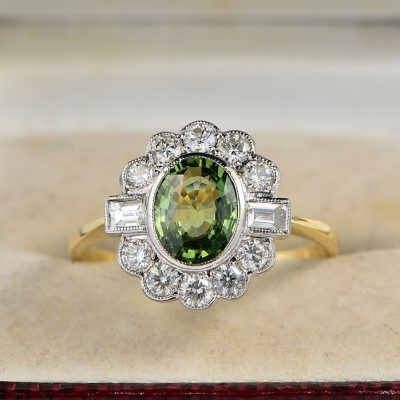 ART DECO 1.50 CT NATURAL GREEN SAPPHIRE 1.0 CT DIAMOND RARE QUALITY RING!