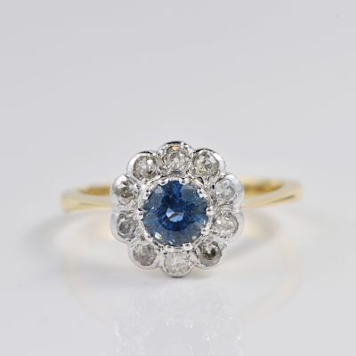 AUTHENTIC EDWARDIAN .90 CT NATURAL SAPPHIRE .80 CT OLD MINE CUT DIAMOND  CLUSTER RING!