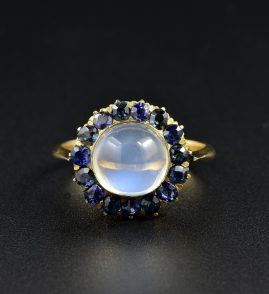 CELESTIAL VICTORIAN 6.0 CT MOONSTONE 1.50 CT OLD MINE SAPPHIRE RARE 1870 CA RING