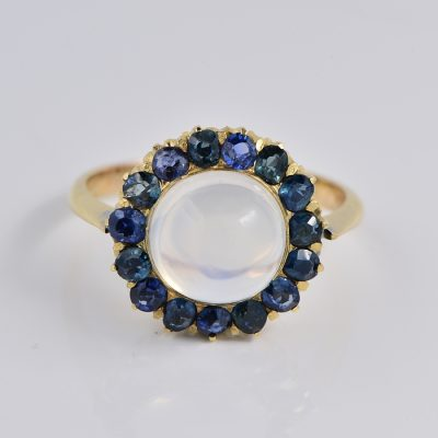 CELESTIAL VICTORIAN 6.0 CT MOONSTONE 1.50 CT OLD MINE SAPPHIRE RARE 1870 CA RING!
