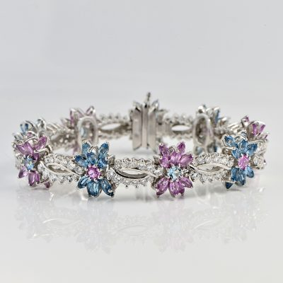 SHEER LUXURY 24.80 CT DIAMOND AQUA MORGANITE 45.4 GR PLATINUM VINTAGE BRACELET 60'S!