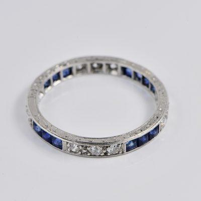 AUTHENTIC ART DECO 1.10 CT BLUE SAPPHIRE DIAMOND PLATINUM ETERNITY RING!