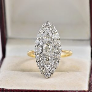 AUTHENTIC EDWARDIAN 4.30 CT OLD DIAMOND MARQUISE RING 1900 CA!