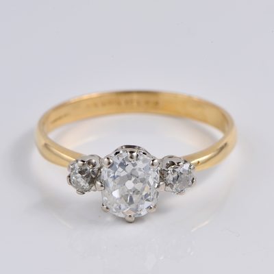 AUTHENTIC VICTORIAN 1.80 CT OLD MINE DIAMOND TRILOGY RING 1900 CA  FANTASTIC!