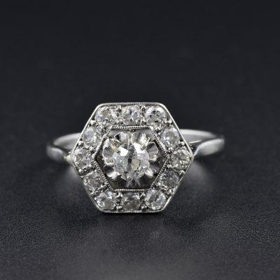 TERRIFIC ART DECO 1.10 CT DIAMOND HEXAGONAL 1920 RING!