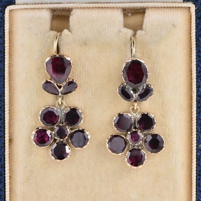 GEORGIAN GARNET THINK OF ME DROP EARRINGS!