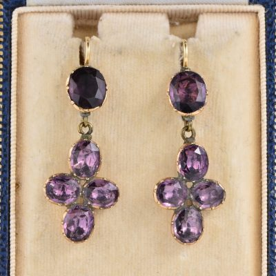 AUTHENTIC GEORGIAN AMETHYST BY THE CANDLE LIGHT RARE DROP EARRINGS 1750 CA!