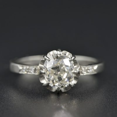 AUTHENTIC ART DECO 1.39 CT WEIGHTED G VS DIAMOND PLATINUM  SOLITAIRE RING 1920 CA!