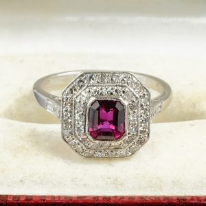 BELLE EPOQUE 1.15 CT NATURAL RUBY DIAMOND PLAQUE RING 1900 CA!