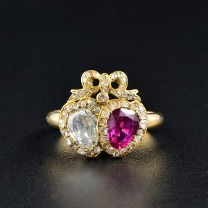 RARE GEORGIAN BURMESE RUBY & DIAMOND DOUBLE HEART RING 1800 ca!