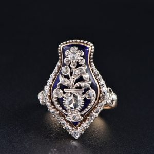 RARE 1750 GEORGIAN ROYAL BLUE & DIAMOND GIARDINETTI RING!
