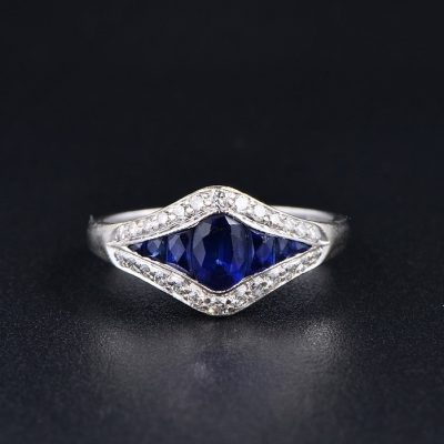 ENGLISH GLITTERING 1.30 CT NATURAL SAPPHIRE & DIAMOND RING!