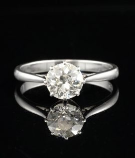 SPECTACULAR ART DECO 1.25 CT H VS OLD EUROPEAN DIAMOND SOLITAIRE PLATINUM RING