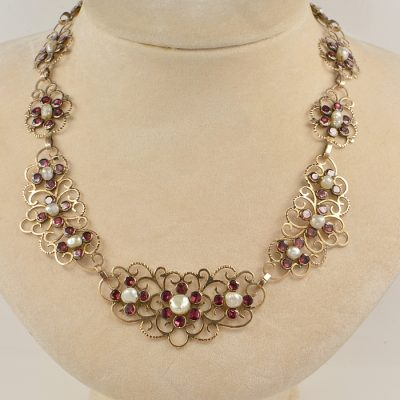 RARE GEORGIAN NATURAL PEARL RED GARNET 16 KT ROSE GOLD NECKLACE!