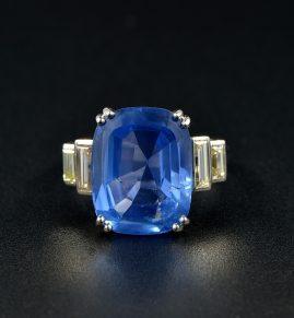 AUTHENTIC ART DECO 12.10 CT NO HEAT CEYLON SAPPHIRE DIAMOND PLATINUM RING!