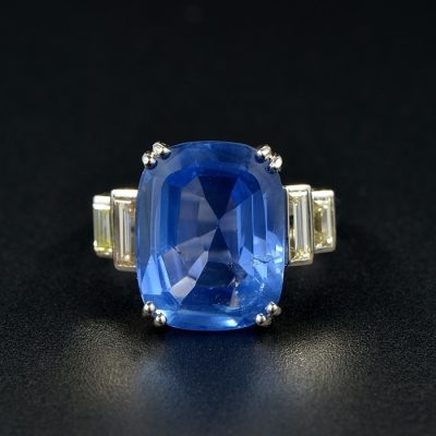 AUTHENTIC ART DECO 12.10 CT NO HEAT CEYLON SAPPHIRE DIAMOND PLATINUM RING!