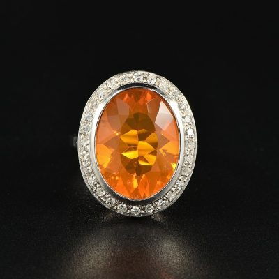 AN IMPRESSIVE 8.0 CT NATURAL FIRE OPAL DIAMOND VINTAGE CLUSTER RING!