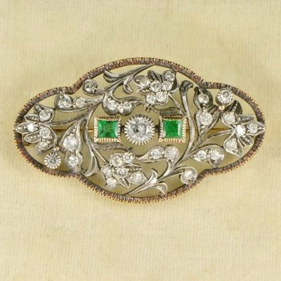 ART DECO HEIRLOOM 2.50 CT DIAMOND & EMERALD LARGE PLAQUE BROOCH!