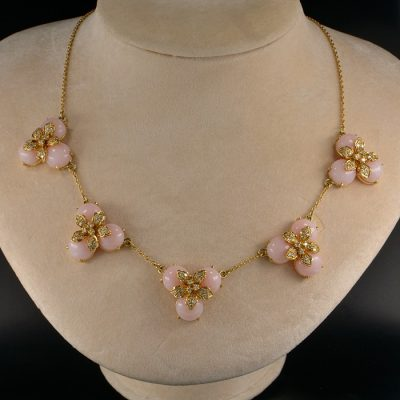 MAGNIFICENT MULTI-FLOWER PINK OPAL & DIAMOND UNIQUE VINTAGE NECKLACE!