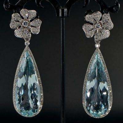 SPECTACULAR LARGE 56.00 CARATS NAT. AQUAMARINE & DIAMOND RARE DROP EARRINGS!