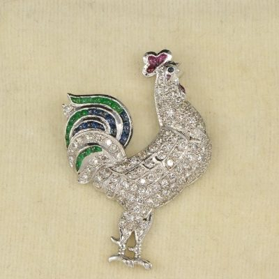 GLAMOROUS ART DECO PRECIOUS COCKEREL DIAMOND SAPPHIRE RUBY EMERALD BROOCH!