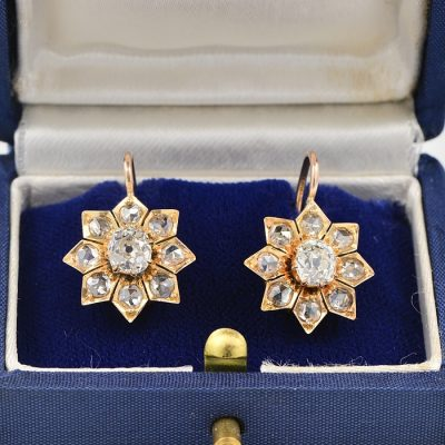 STAR FLORET VICTORIAN 3.0 CT DIAMOND LARGE SOLITAIRE G VVS-VS RARE DROP EARRINGS 1875 CA!