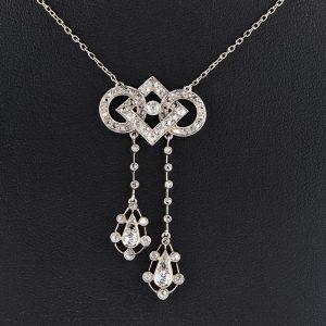 AUTHENTIC EDWARDIAN DIAMOND PLATINUM NEGLIGEE NECKLACE!