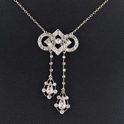 AUTHENTIC EDWARDIAN DIAMOND PLATINUM NEGLIGEE NECKLACE!