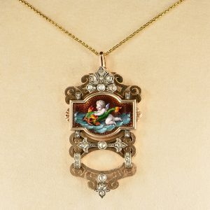 GEORGIAN FRENCH RARE CHERUB DIAMOND ROSE GOLD PENDANT 1800 CA!