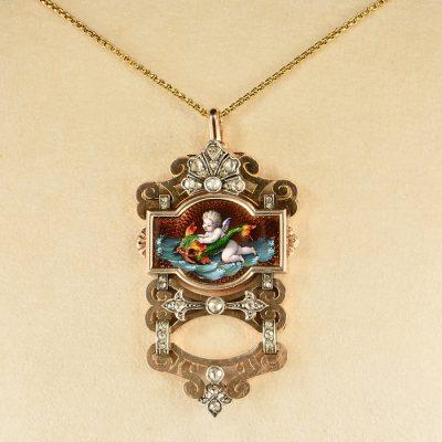 GEORGIAN FRENCH RARE CHERUB DIAMOND ROSE GOLD PENDANT 1800 CA!