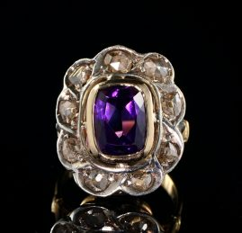 AUTHENTIC VICTORIAN AMETHYST DIAMOND RARE RING!