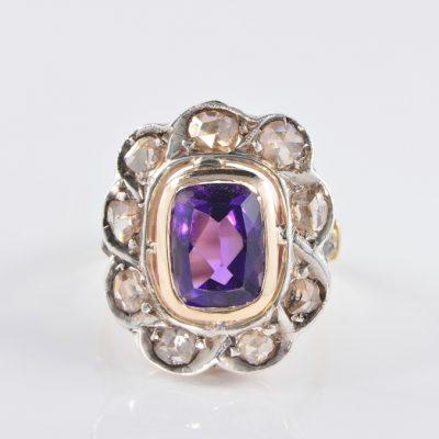 AUTHENTIC VICTORIAN DIAMOND AMETHYST RARE RING!
