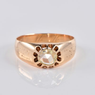VICTORIAN .95 CT ROSE CUT SOLITAIRE GIPSY RING 1870 CA!