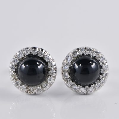 LATE ART DECO DIAMOND AND BLACK ONYX TARGET STUD EARRINGS 1940 CA!