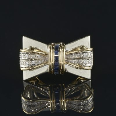 IMPRESSIVE DIAMOND SAPPHIRE LARGE VINTAGE  BOW RING