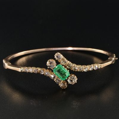 GLORIOUS VICTORIAN EMERALD AND DIAMOND RARE BANGLE!