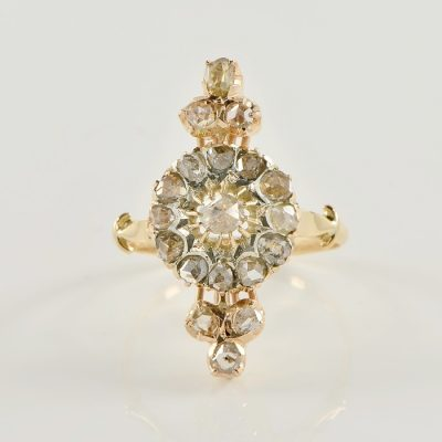 VICTORIAN ROSE CUT DIAMOND ELONGATED CLUSTER RING 1880 CA!