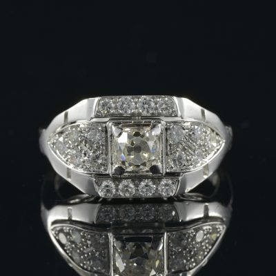 STUNNING LATE ART DECO 1.45 CT DIAMOND RARE RING!