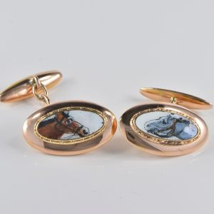 ART DECO BOXED RARE ENAMELLED EQUESTRIAN GENTS CUFF LINKS!
